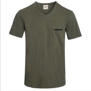 NWT Mens Olive Vintage Raw Sneak Pocket V neck